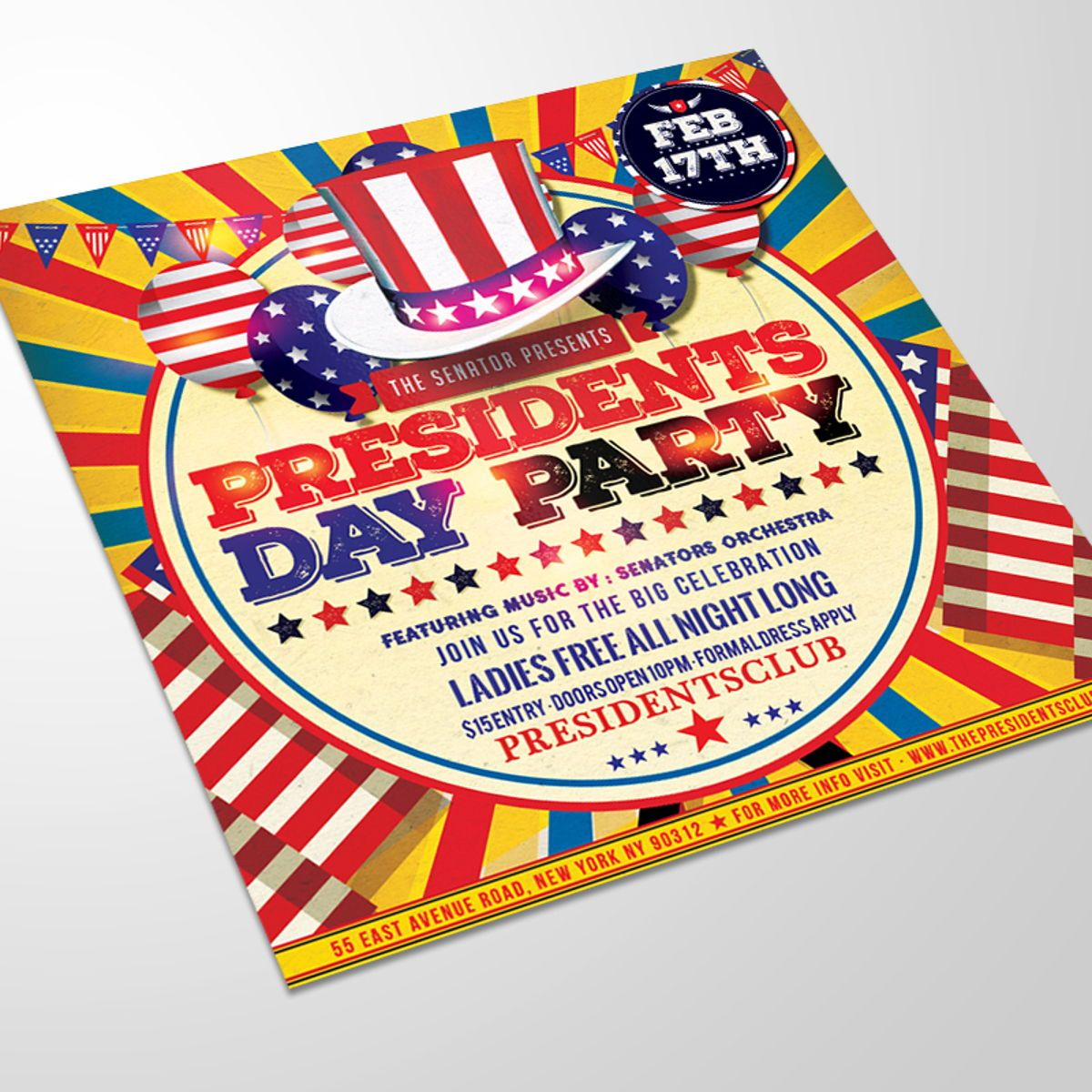 Presidents Day Flyer Template, Slide 3, 08557, Holiday/Special Occasion — PoweredTemplate.com
