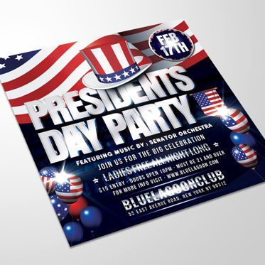 Holiday/Special Occasion: Presidents Day Flyer Template #08558