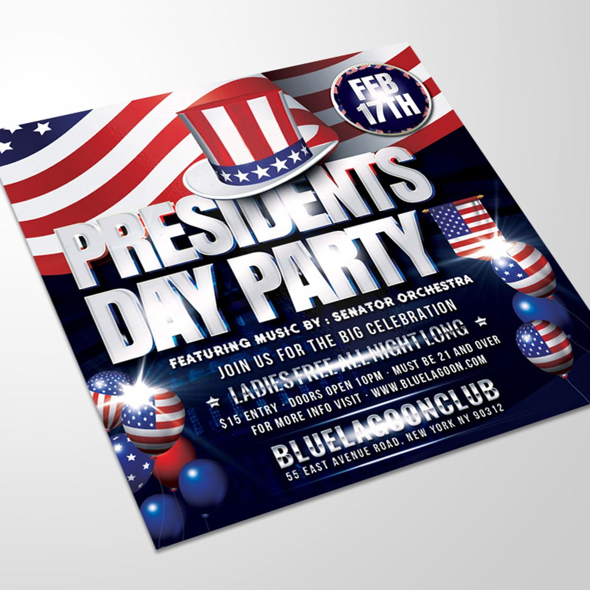 Presidents Day Flyer Template, 08558, Holiday/Special Occasion — PoweredTemplate.com