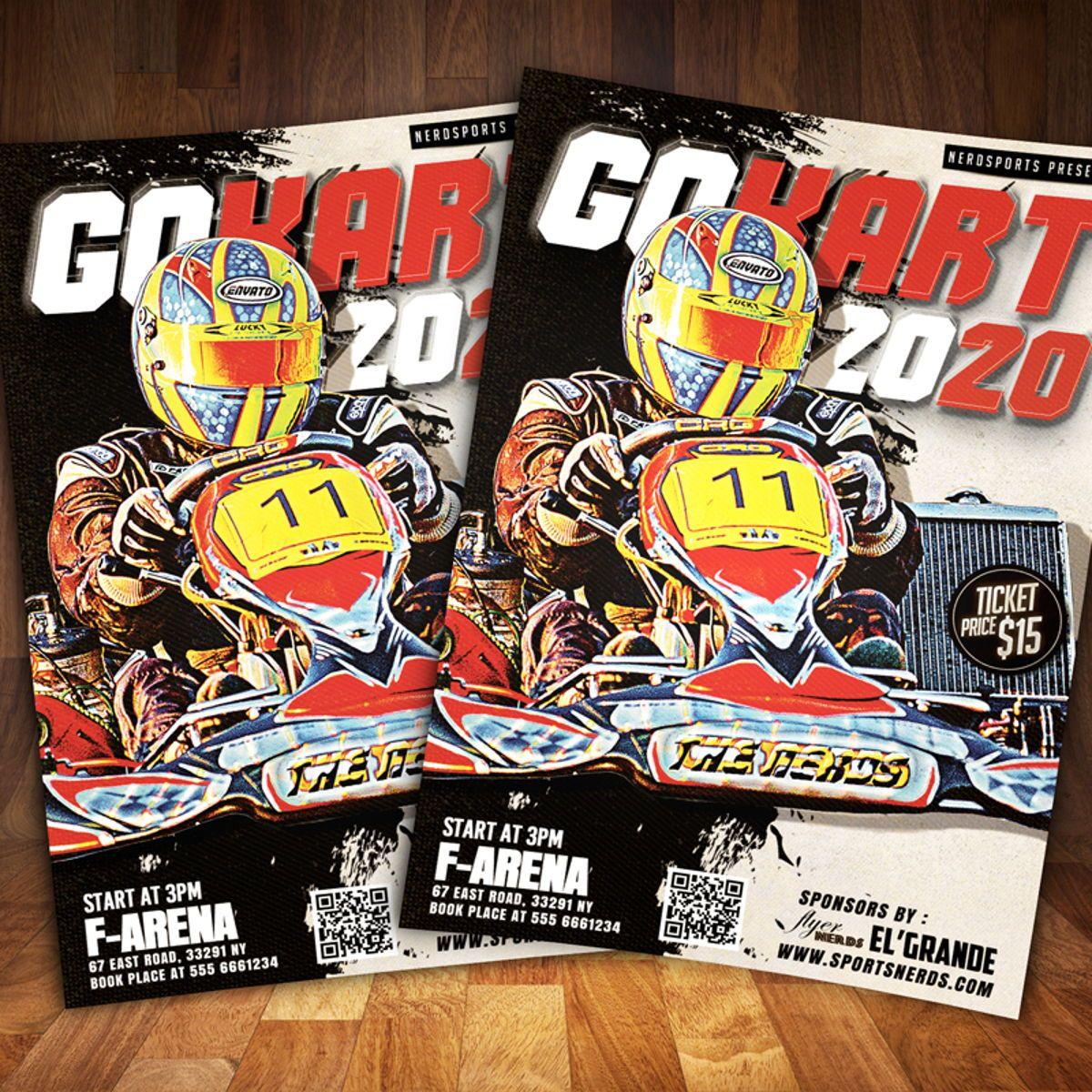 Gokart Sports Flyer Template, 08561, Sports — PoweredTemplate.com