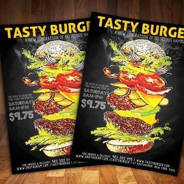 Food & Beverage: Hamburger FastFood Flyer #08562
