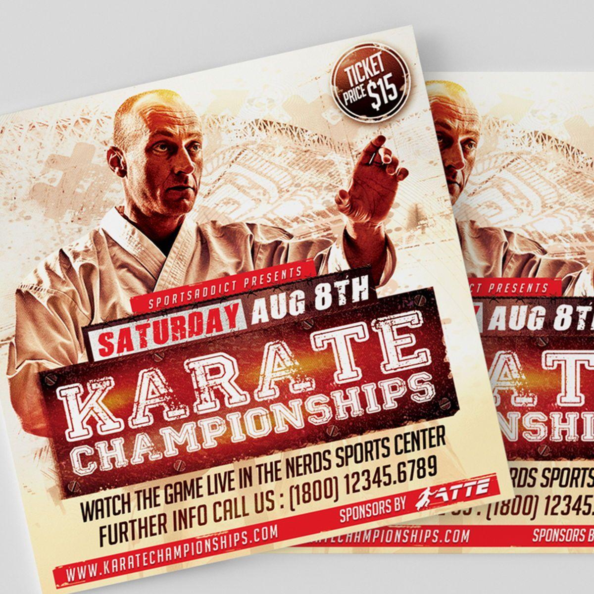 Karate Championships Sports Flyer Template, Slide 3, 08563, Sports — PoweredTemplate.com