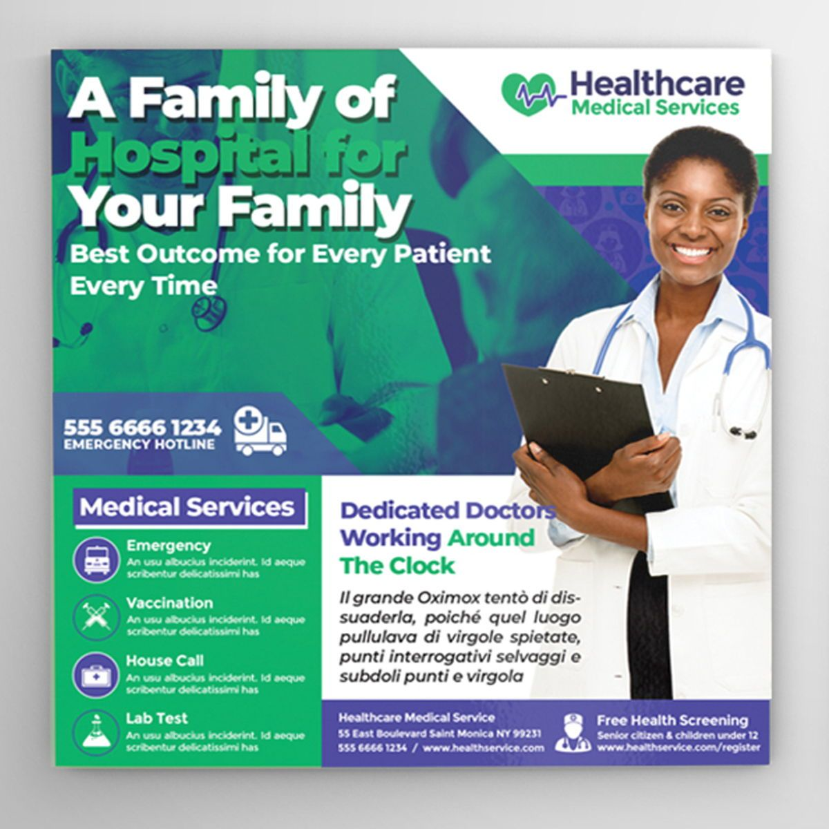 Medical Center Flyer, 08567, Medical — PoweredTemplate.com