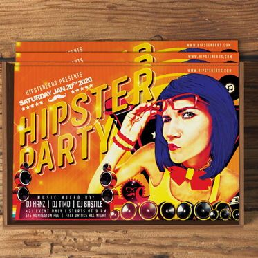 Art & Entertainment: Hipster Flyer Template #08573