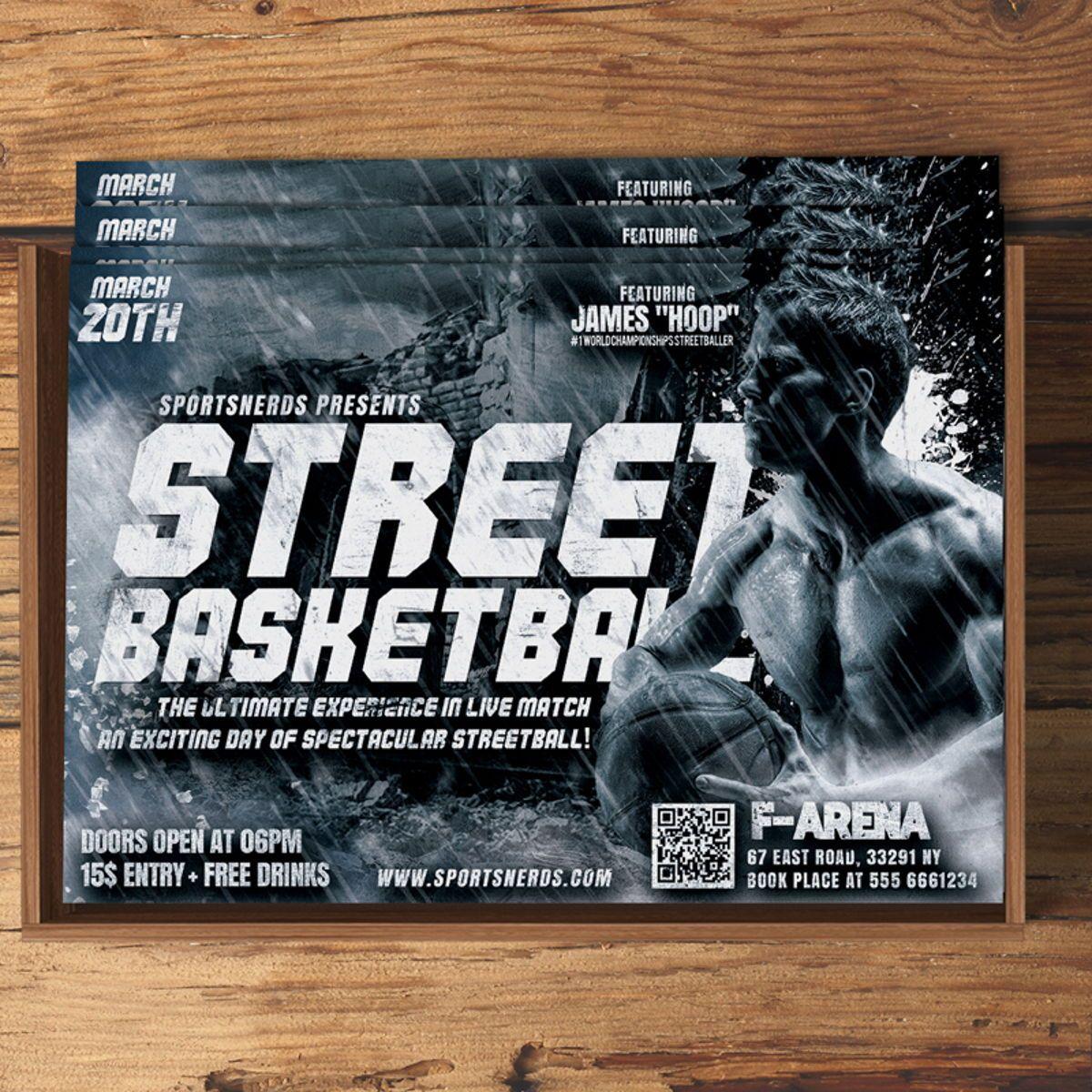 Street Basketball Flyer, Slide 4, 08585, Sports — PoweredTemplate.com