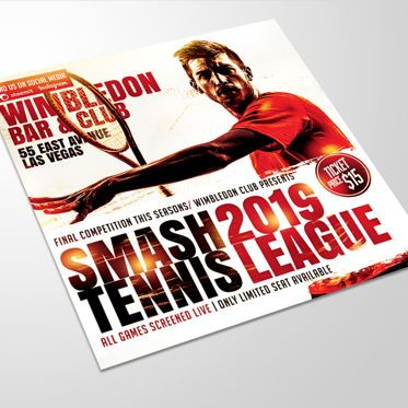 Sports: Smash Tennis League Sports Flyer Template #08588