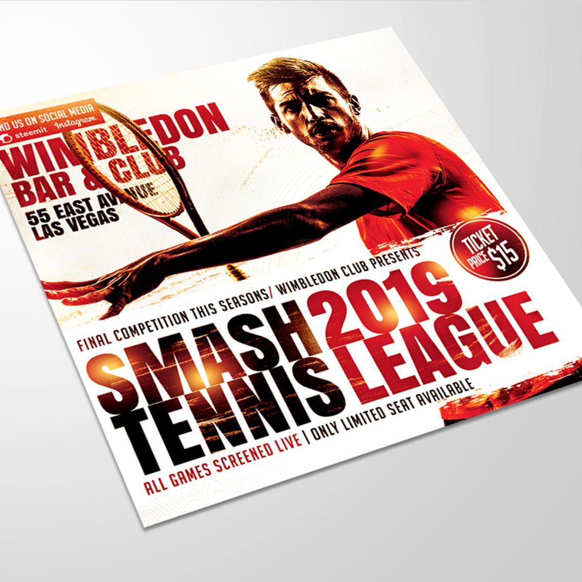 Smash Tennis League Sports Flyer Template, 08588, Sports — PoweredTemplate.com