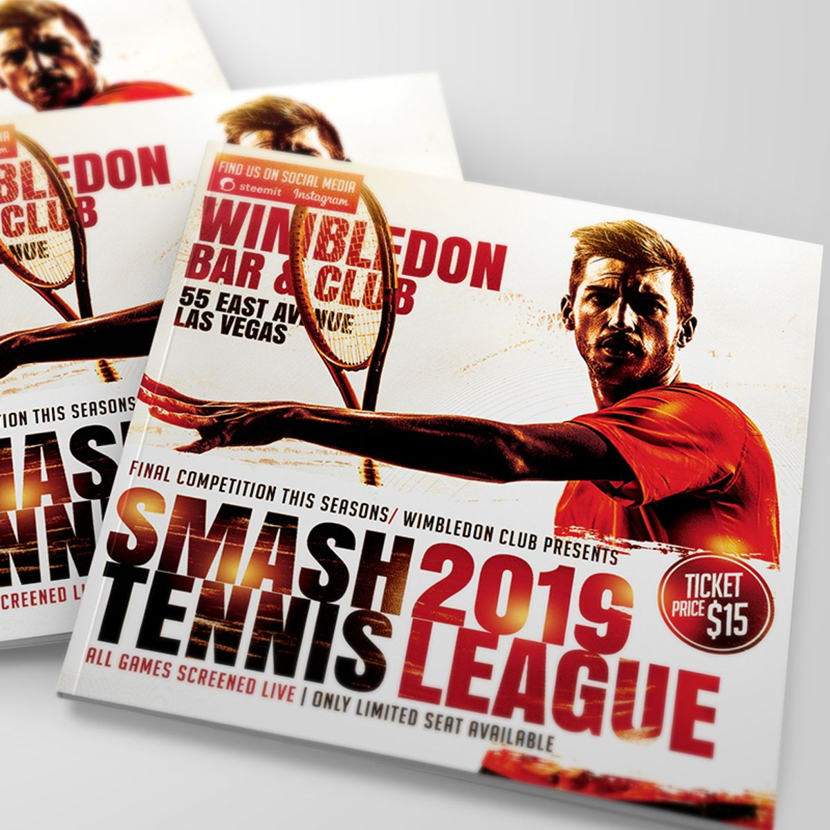 Smash Tennis League Sports Flyer Template, Slide 2, 08588, Sports — PoweredTemplate.com