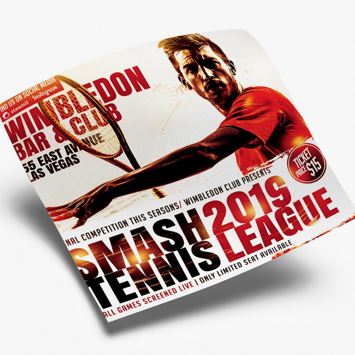 Smash Tennis League Sports Flyer Template, Slide 3, 08588, Sports — PoweredTemplate.com