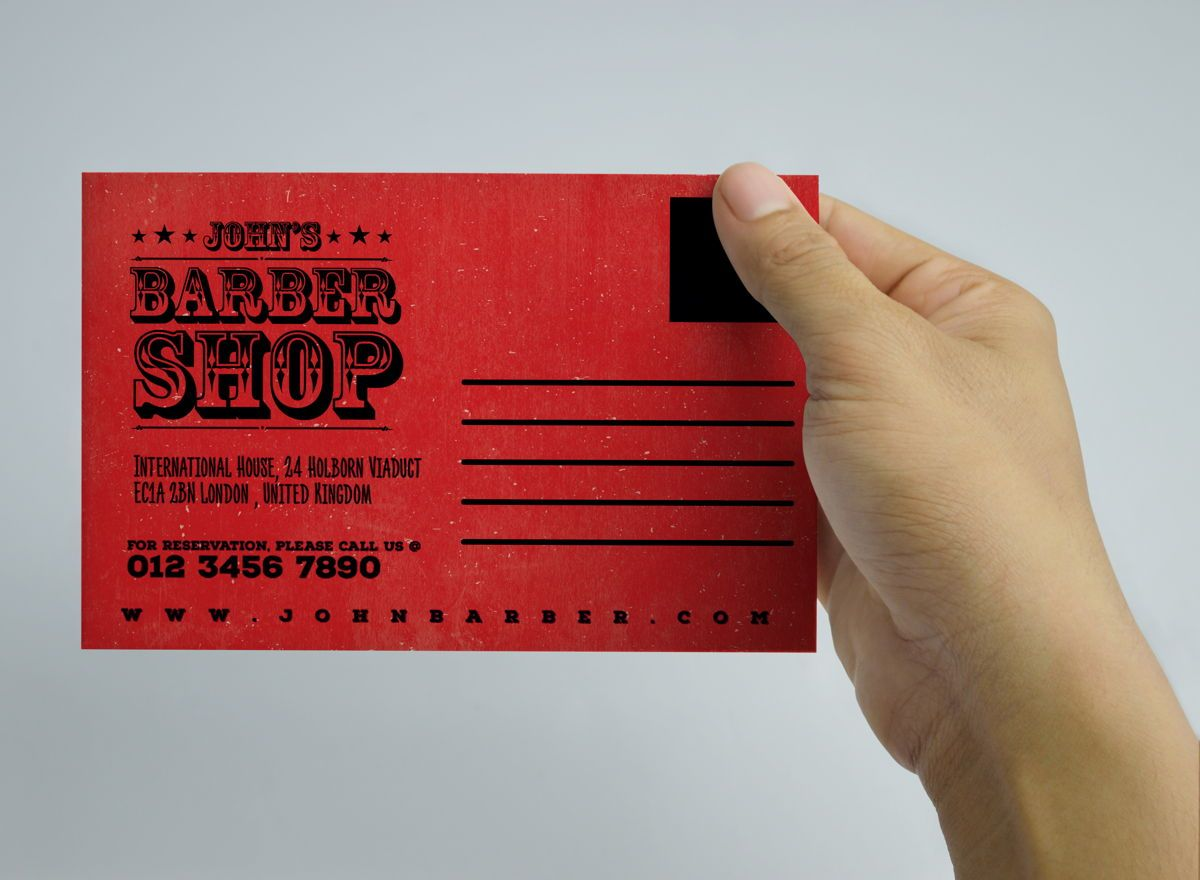 Barber Shop Promotion PostCard, Slide 5, 08596, Business — PoweredTemplate.com