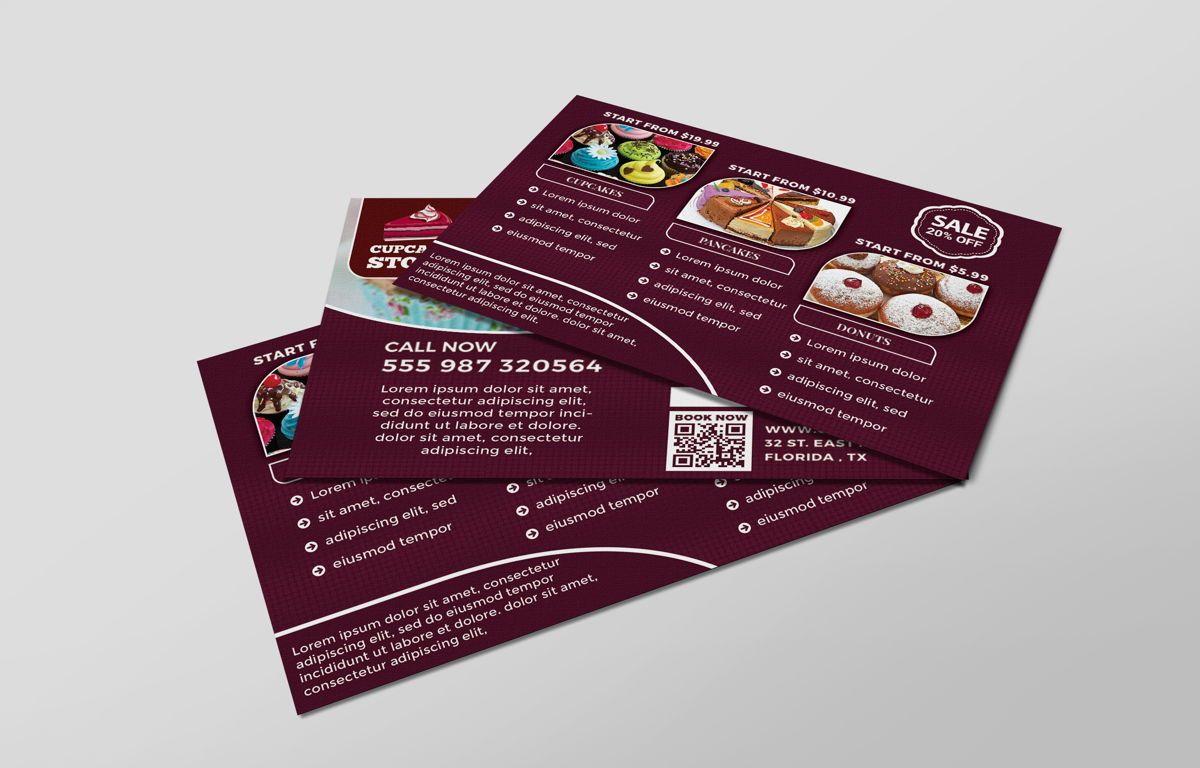 Cupcake Store PostCard Template, 08598, Business — PoweredTemplate.com