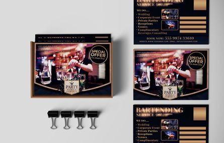 Business: Bartending Service PostCard Template #08602