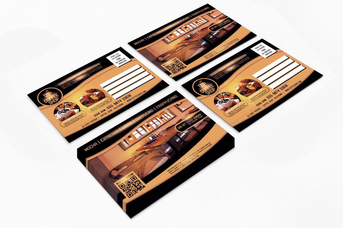 Coffee Shop PostCard Template, 08605, Food & Beverage — PoweredTemplate.com