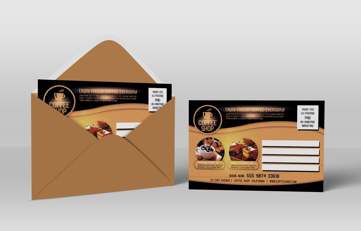 Coffee Shop PostCard Template, Slide 2, 08605, Food & Beverage — PoweredTemplate.com