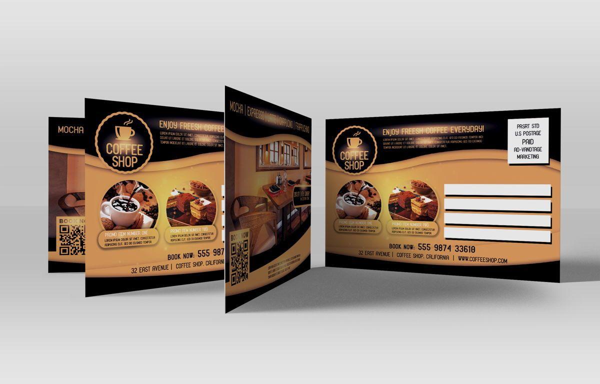Coffee Shop PostCard Template, Slide 3, 08605, Food & Beverage — PoweredTemplate.com