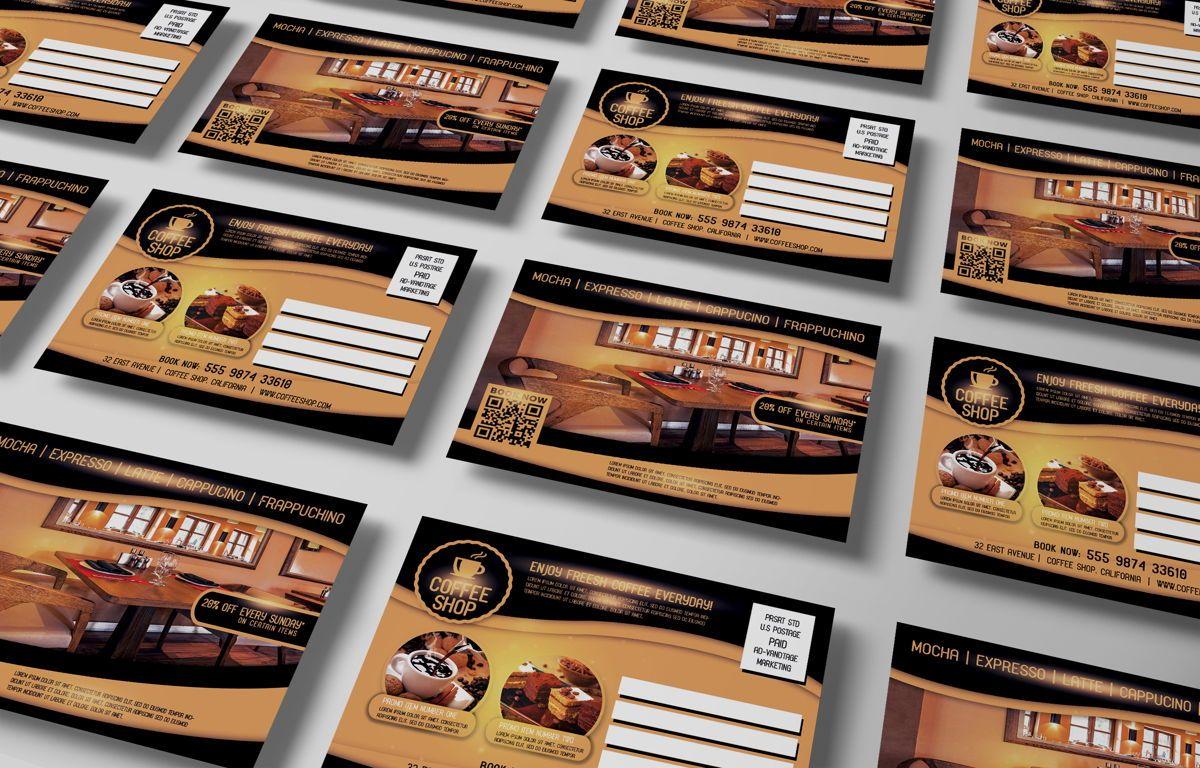 Coffee Shop PostCard Template, Slide 4, 08605, Food & Beverage — PoweredTemplate.com