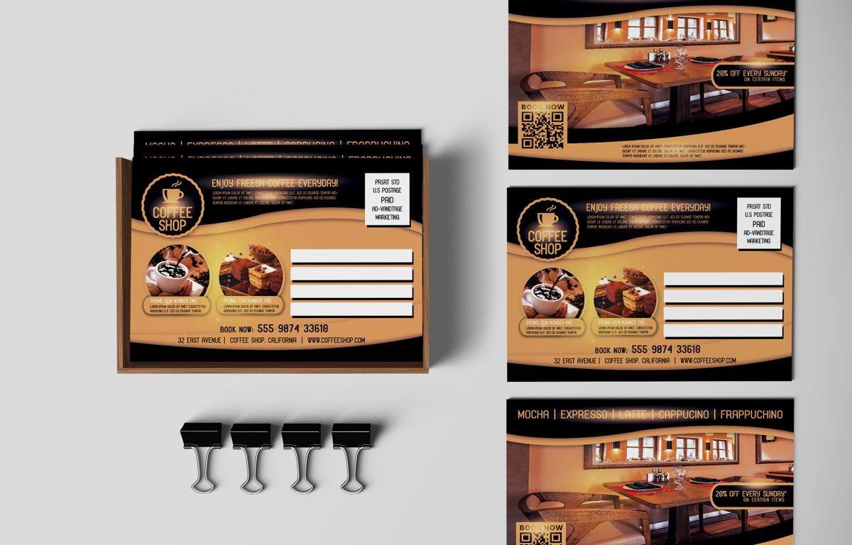Coffee Shop PostCard Template, Slide 5, 08605, Food & Beverage — PoweredTemplate.com