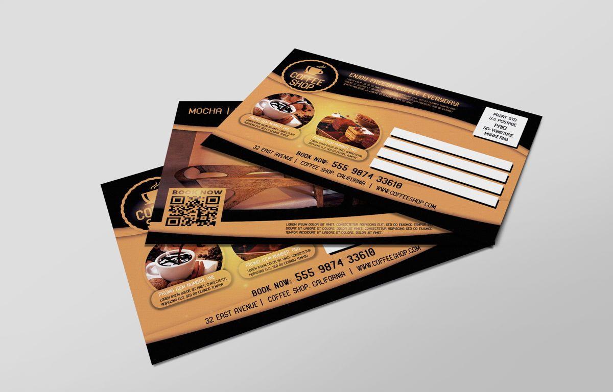 Coffee Shop PostCard Template, Slide 7, 08605, Food & Beverage — PoweredTemplate.com