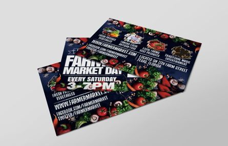 Business: Farmer Market Day PostCard Template #08606