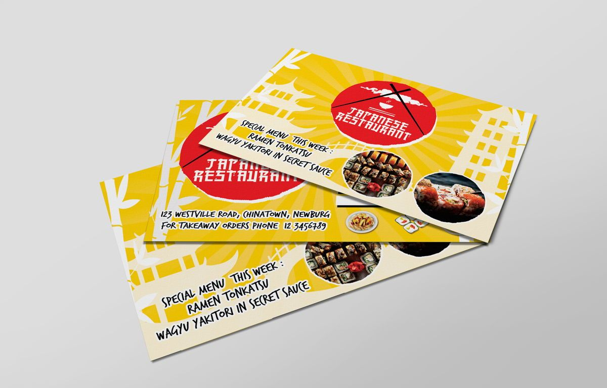 Japanese Food Restaurant PostCard Template, 08609, Food & Beverage — PoweredTemplate.com