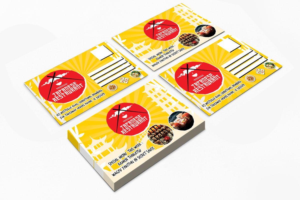 Japanese Food Restaurant PostCard Template, Slide 2, 08609, Food & Beverage — PoweredTemplate.com
