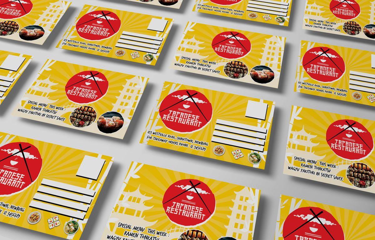 Japanese Food Restaurant PostCard Template, Slide 7, 08609, Food & Beverage — PoweredTemplate.com