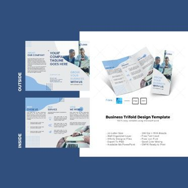 Business: Multipurpose business trifold brochure design template #08612