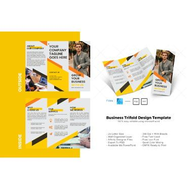 Business: Multipurpose company trifold brochure design template #08613