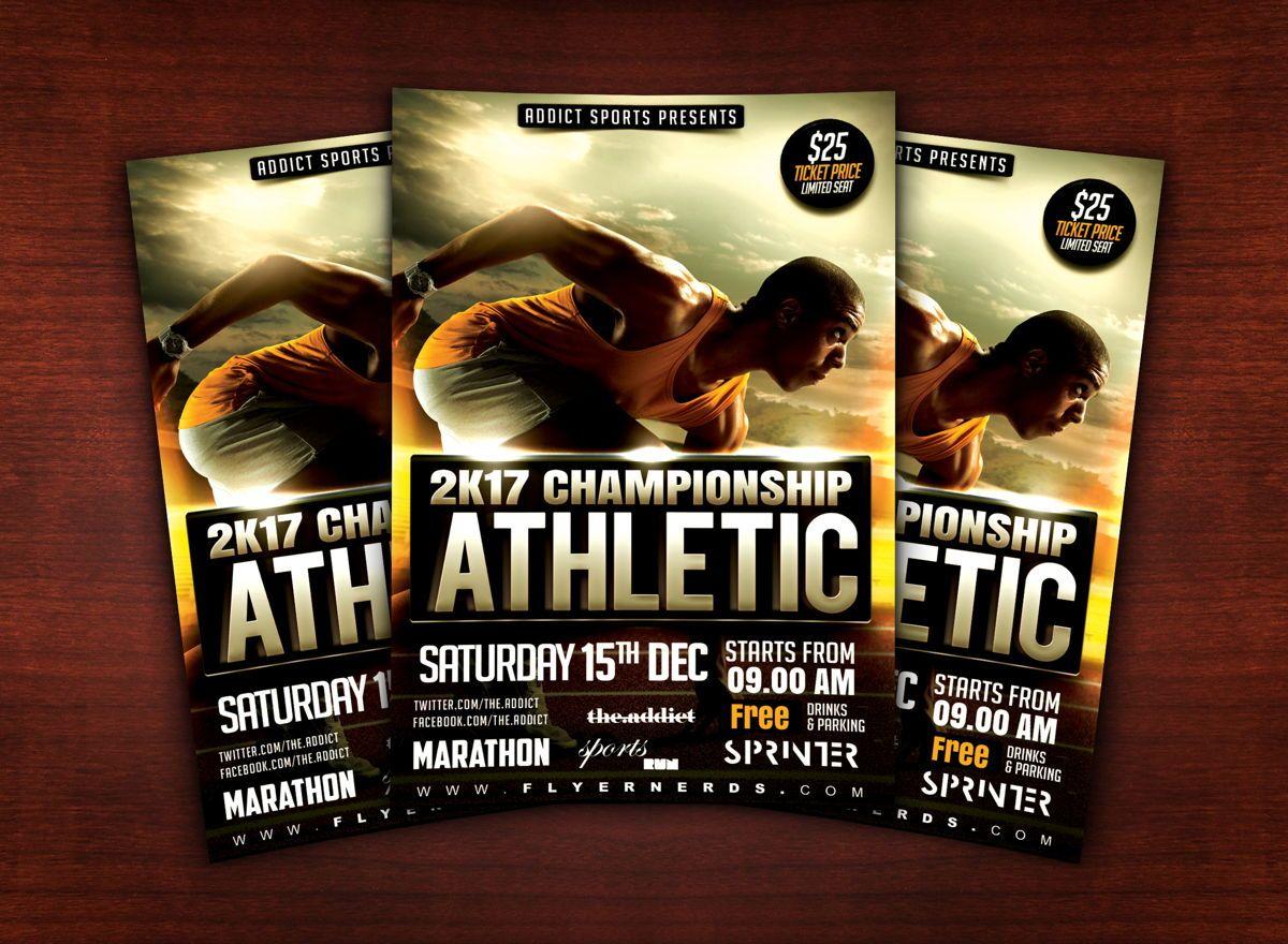 Athletic Sports Flyer Template, Slide 2, 08614, Sports — PoweredTemplate.com