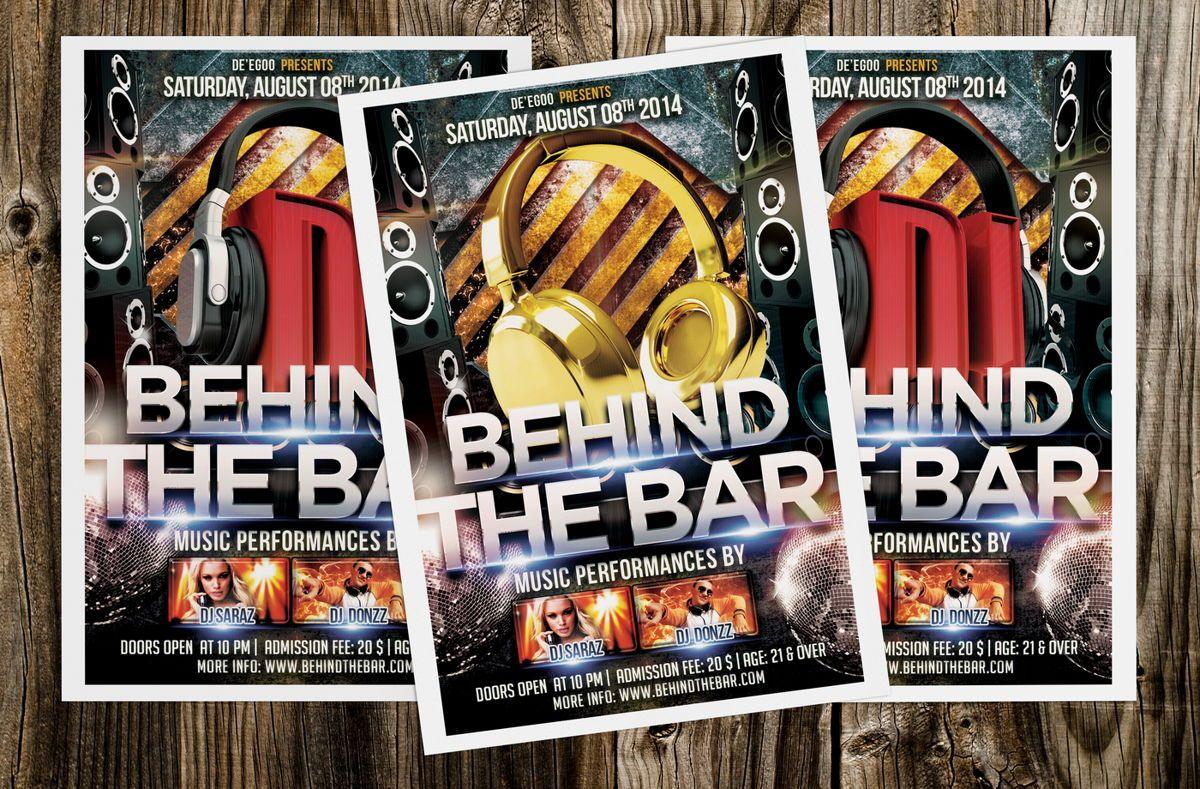 Behind The Bar Party Flyer Template, 08617, Art & Entertainment — PoweredTemplate.com