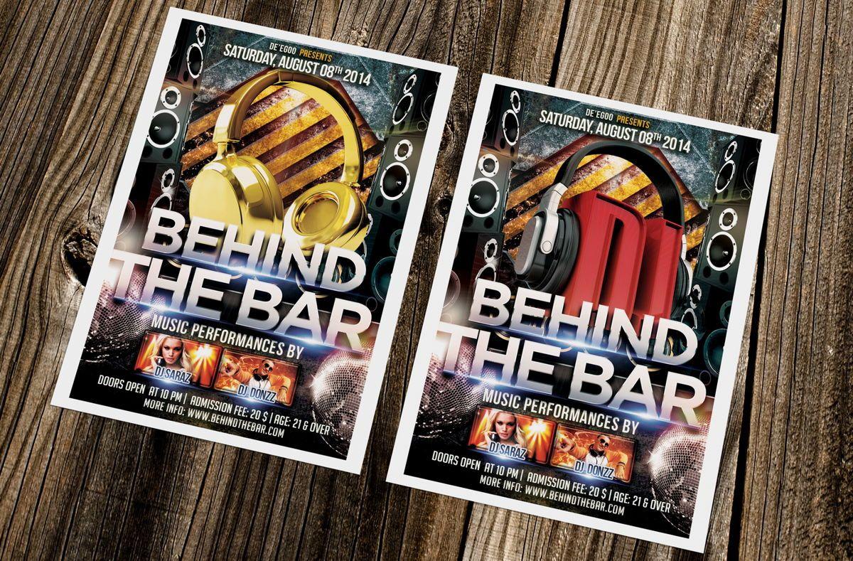 Behind The Bar Party Flyer Template, Slide 2, 08617, Art & Entertainment — PoweredTemplate.com