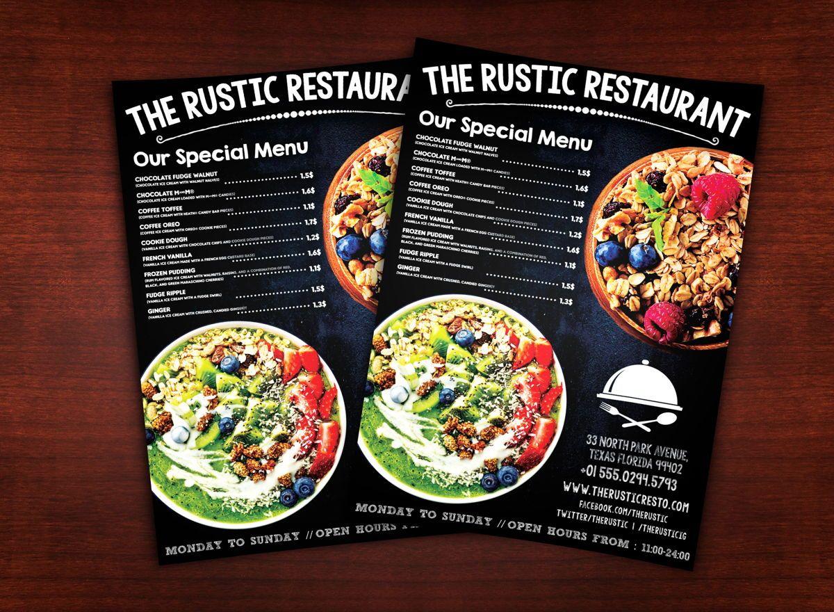 Chalk Styles Restaurant Flyer Template, 08619, Food & Beverage — PoweredTemplate.com