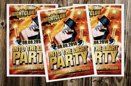 Art & Entertainment: Into The Light Party Flyer Template #08620