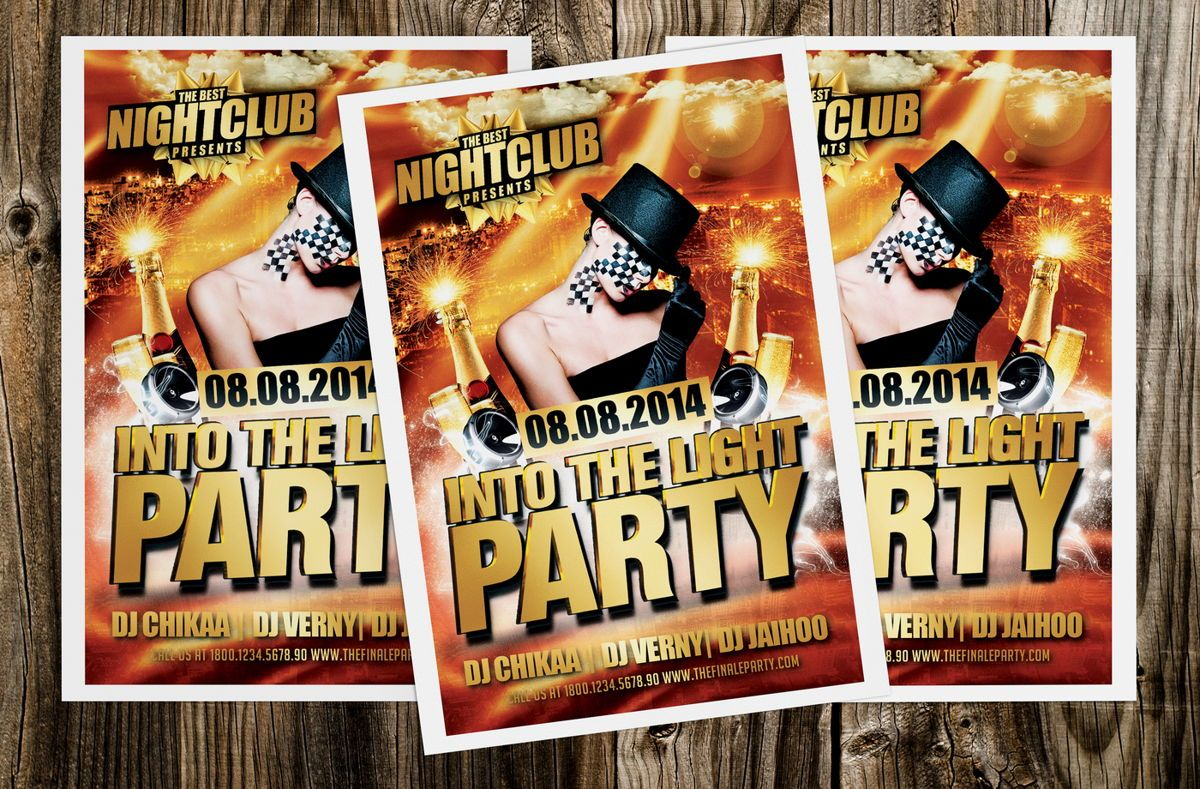 Into The Light Party Flyer Template, 08620, Art & Entertainment — PoweredTemplate.com