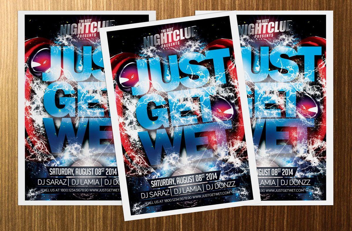 Just Get Wet Party Flyer Template, 08621, Art & Entertainment — PoweredTemplate.com