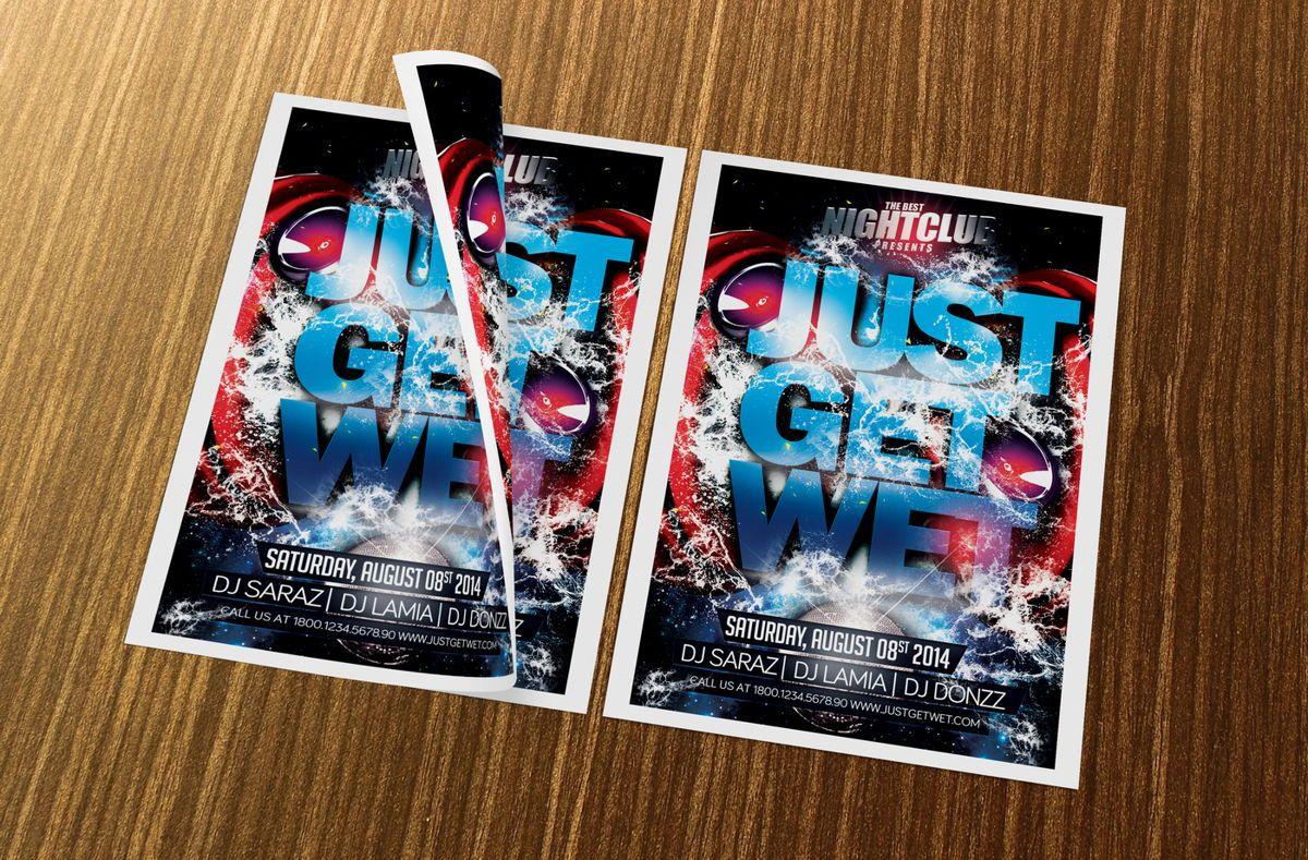 Just Get Wet Party Flyer Template, Slide 2, 08621, Art & Entertainment — PoweredTemplate.com