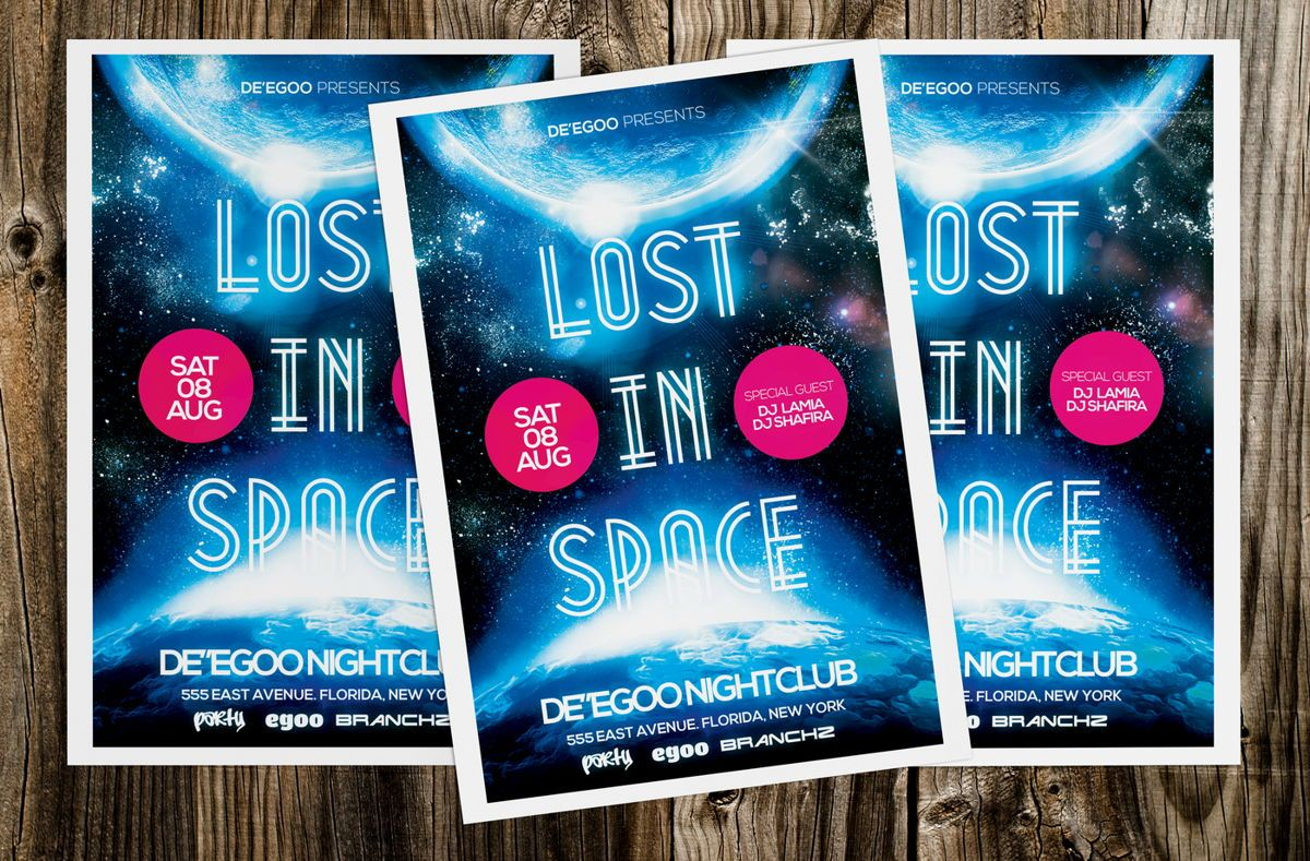 Lost In Space Party Flyer Template, 08622, Art & Entertainment — PoweredTemplate.com