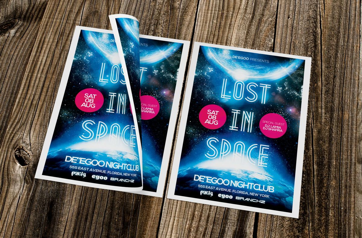 Lost In Space Party Flyer Template, Slide 2, 08622, Art & Entertainment — PoweredTemplate.com