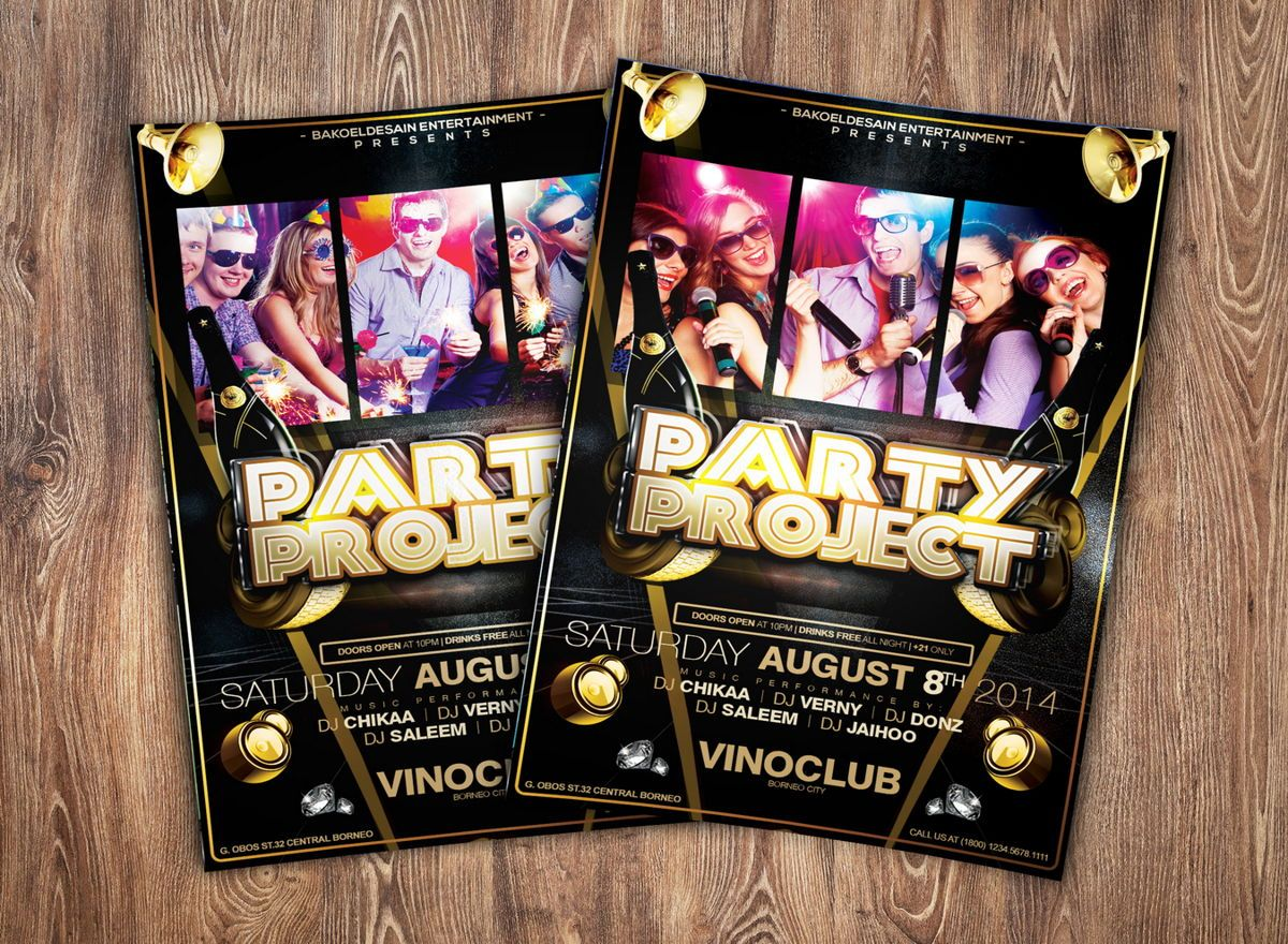 Party Project Flyer Template, 08625, Art & Entertainment — PoweredTemplate.com