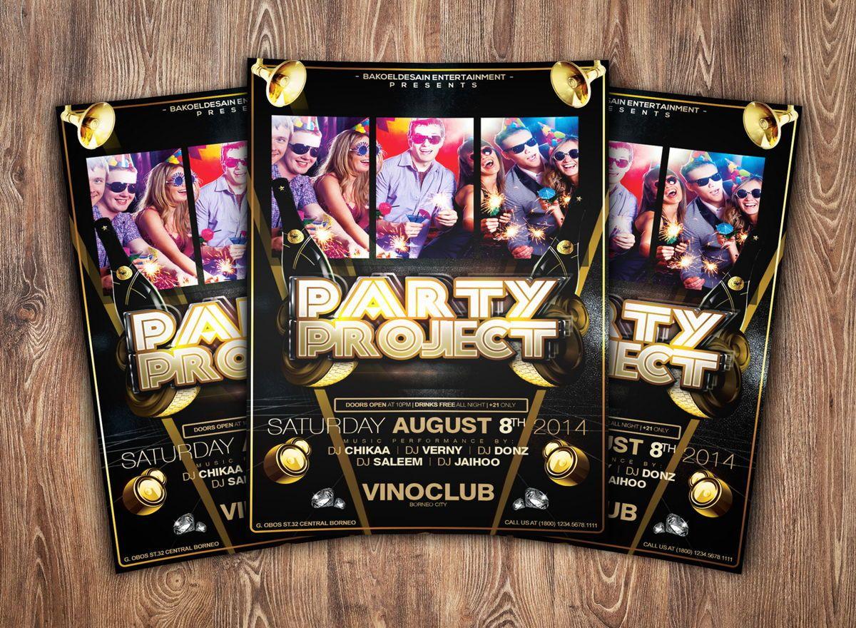 Party Project Flyer Template, Slide 2, 08625, Art & Entertainment — PoweredTemplate.com