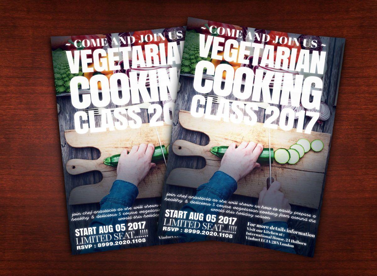 Vegetarian Cooking Class Flyer Template, 08627, Food & Beverage — PoweredTemplate.com