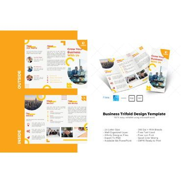 Business: Multipurpose yellow trifold brochure design template #08629