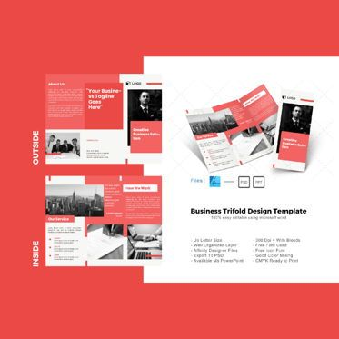Business: Multipurpose maroon trifold brochure design template #08630