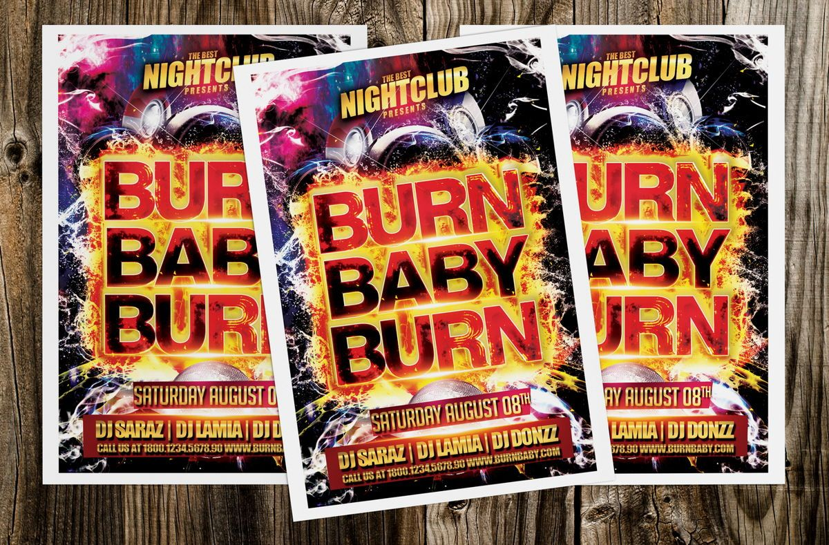 Burn Baby Burn Party Flyer Template, Slide 2, 08632, Art & Entertainment — PoweredTemplate.com