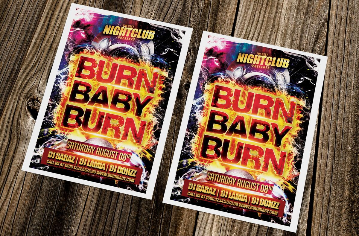 Burn Baby Burn Party Flyer Template, Slide 3, 08632, Art & Entertainment — PoweredTemplate.com