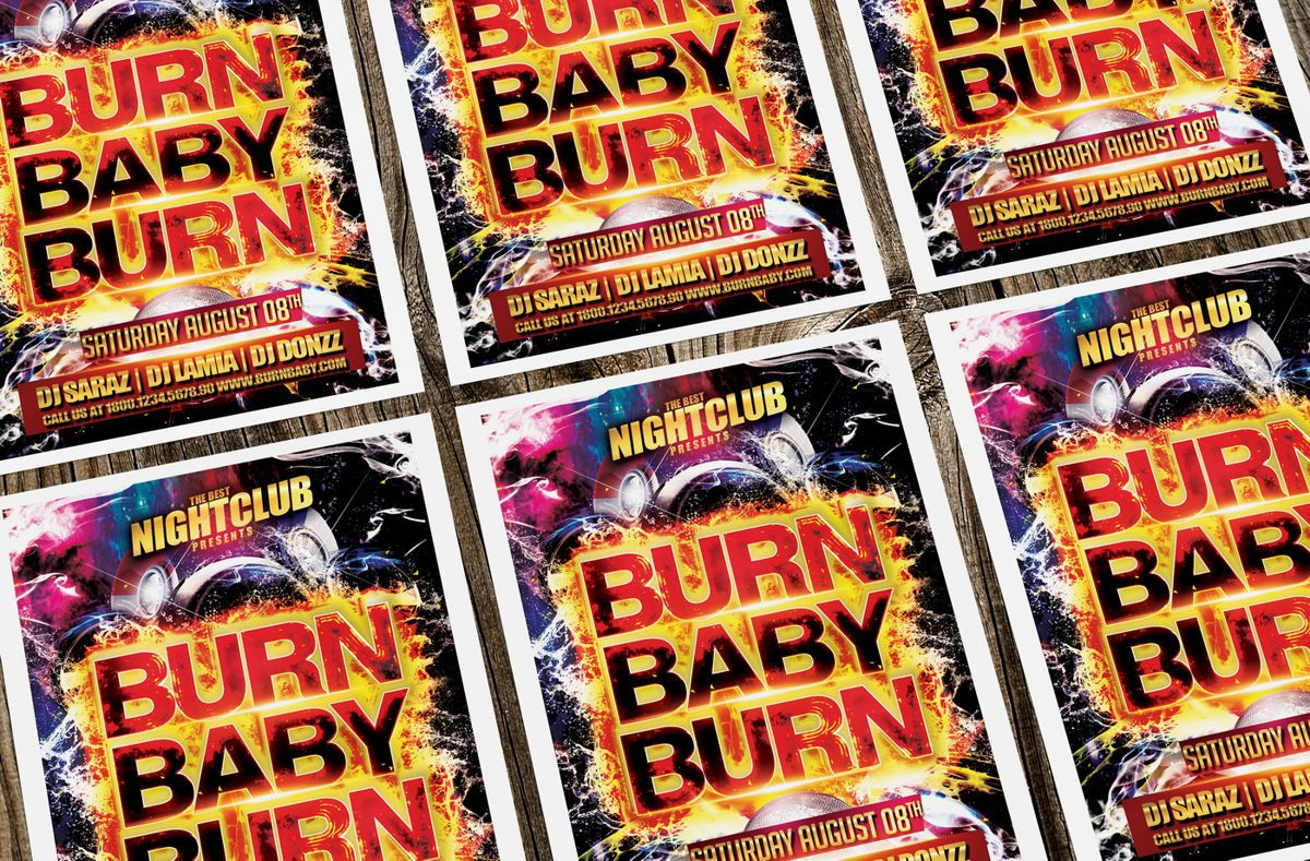 Burn Baby Burn Party Flyer Template, Slide 4, 08632, Art & Entertainment — PoweredTemplate.com