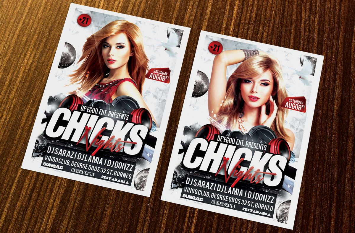 Chicks Party Flyer Template, 08633, Art & Entertainment — PoweredTemplate.com