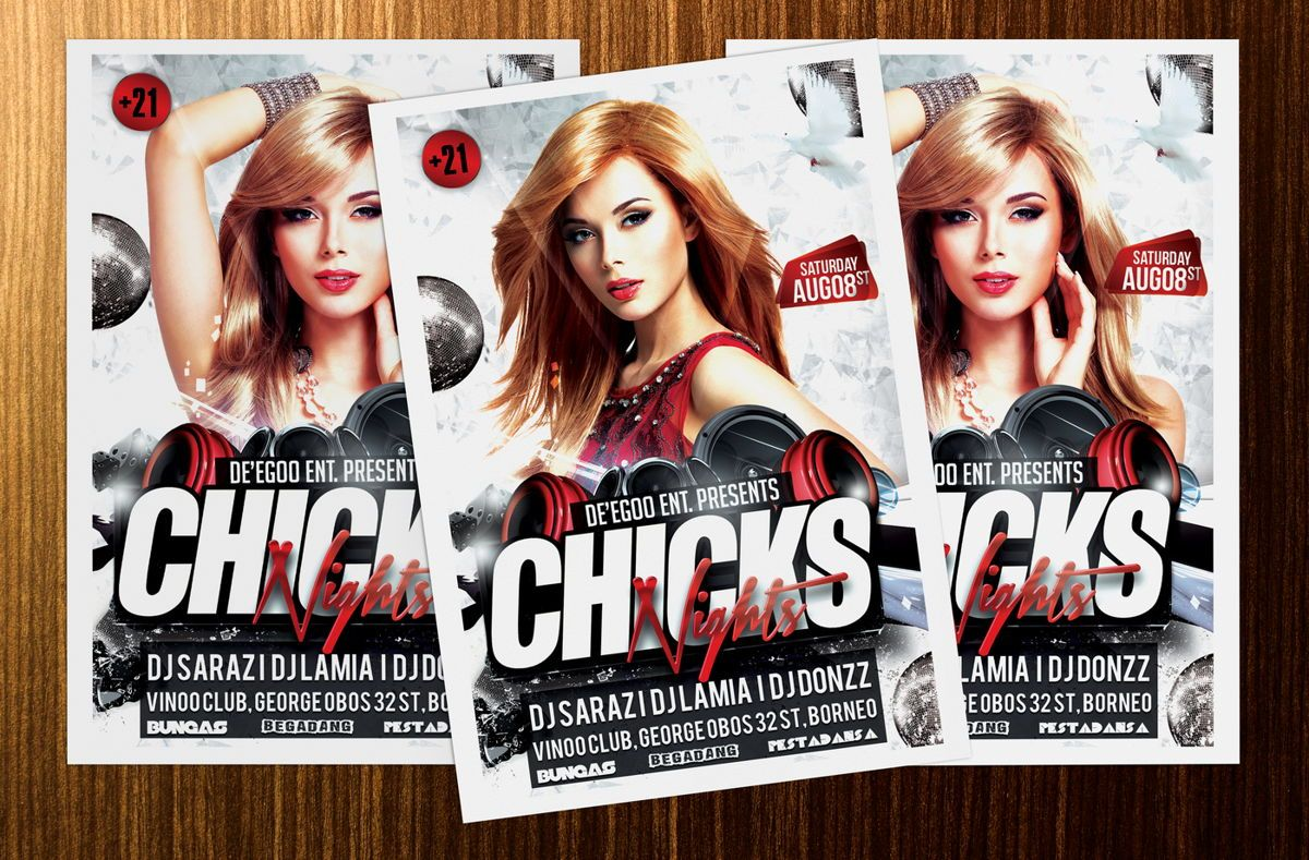 Chicks Party Flyer Template, Slide 4, 08633, Art & Entertainment — PoweredTemplate.com