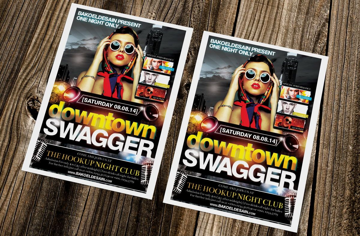 Downtown Swagger Party Flyer Template, 08634, Art & Entertainment — PoweredTemplate.com