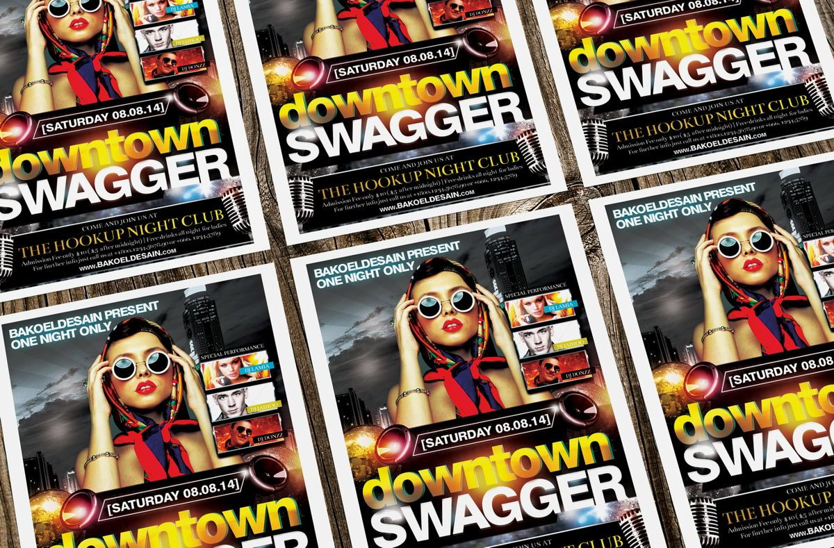 Downtown Swagger Party Flyer Template, Slide 2, 08634, Art & Entertainment — PoweredTemplate.com